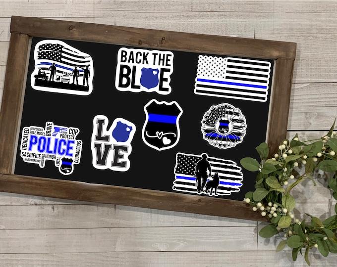 "Featured listing image: Police Sticker, Police Collection Collection, Vinyl Die Cut Sticker, Weatherproof Sticker, 3"" Sticker, First Responders, Thin Blue Line"