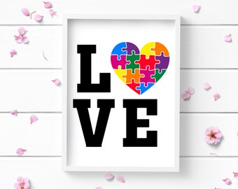 Art Prints, Autism Love Puzzle Piece Art Print, Autism Awareness Art Print, Positive and Inspiring Wall Art, Decor for Home or Office