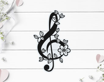 Clear Stickers, Floral Musical Note, Vinyl Die Cut Clear Sticker, Weatherproof Sticker, Perfect for laptops, tumblers, and planners