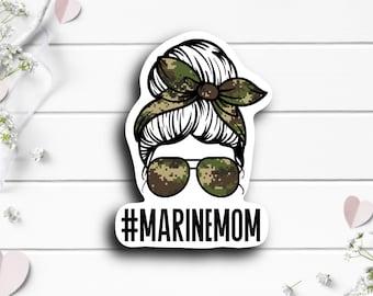 Patriotic Stickers, Marine Mom Messy Bun Sticker, Vinyl Die Cut Sticker, Weatherproof Sticker, Patriotic Sticker, Military Sticker, Marines