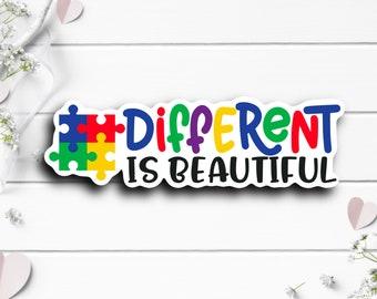 Autism Sticker, Different Is Beautiful Sticker, Vinyl Die Cut Sticker, Weatherproof Sticker, Perfect for laptops, tumblers, etc.