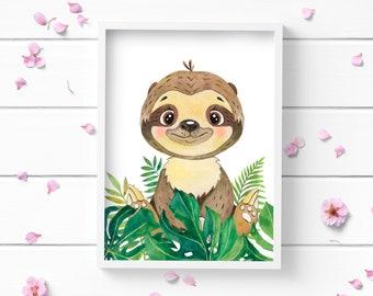 Art Prints, Sloth Print, Art Print, Nursery Decor, Positive and Inspiring Wall Art, Decor for Home or Office, Glamour and Fashion Print