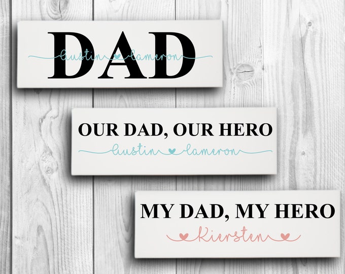 """Featured listing image: Dad Ceramic Tile, Father's Day Sign, 4""""x16"""" Ceramic Tile sign made with Permanent Adhesive Vinyl, Wall or Door Decor"""