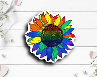 Pride Stickers, Pride Sunflower, Vinyl Die Cut Sticker, Weatherproof Sticker, Perfect for laptops, tumblers, and planners