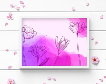 Art Prints, Pink Floral Art Print, Positive and Inspiring Wall Art, Decor for Home or Office, Bedroom Art, Glamour and Fashion Print