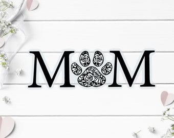 Clear Stickers, Mom Paw Print Clear Sticker, Vinyl Die Cut Clear Sticker, Weatherproof Sticker, Perfect for laptops, tumblers, and planners