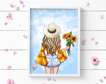 Sunflower Girl Art Print, Positive and Inspiring Wall Art, Decor for Home or Office, Bedroom Art, Glamour and Fashion Print