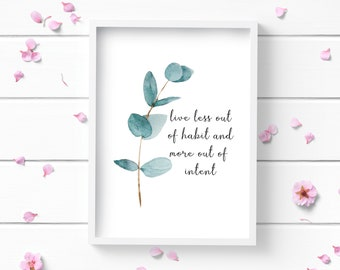 Art Prints, Eucalyptus Art Print, Positive and Inspiring Wall Art, Decor for Home or Office, Bedroom Art, Glamour and Fashion Print