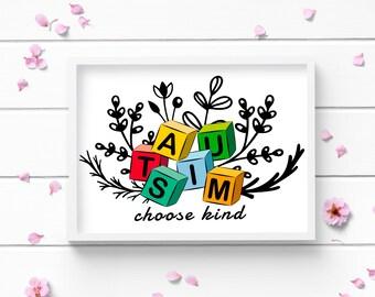 Art Prints, Autism Choose Kind Art Print, Autism Awareness Art Print, Positive and Inspiring Wall Art, Decor for Home or Office, Bedroom Art