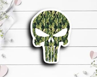 Patriotic Stickers, Punisher Camo Sticker, Vinyl Die Cut Sticker, Weatherproof Sticker, Patriotic Sticker, Military Sticker