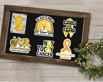 Childhood Cancer Awareness, Childhood Cancer Collection 1, Vinyl Die Cut Sticker, Weather Resistant Sticker, Gift for Her, Stickers