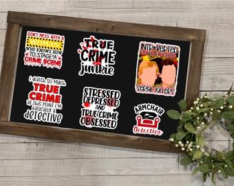 """True Crime Stickers, True Crime Collection, Vinyl Die Cut Sticker, Weatherproof Sticker, 3"""" Sticker,"""