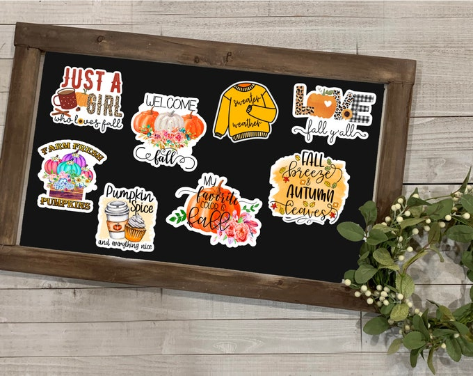 """Featured listing image: Fall Stickers, Fall Collection 2, Autumn Season, Fall Season, Sweater Weather, Vinyl Die Cut Sticker, Weatherproof Sticker, 3"""" Sticker,"""
