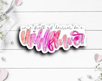 Wildflower Sticker, Vinyl Die Cut Sticker, Weatherproof Sticker