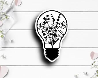 Floral Lightbulb, Vinyl Die Cut Sticker, Mental Health Matters, Encouragement and Motivational Sticker