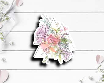 Abstract Floral Art Sticker, Vinyl Die Cut Sticker, Weatherproof Sticker, Perfect for laptops, tumblers, and planners
