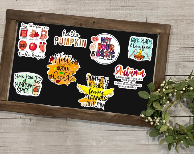 """Featured listing image: Fall Stickers, Fall Collection 1, Autumn Season, Fall Season, Sweater Weather, Vinyl Die Cut Sticker, Weatherproof Sticker, 3"""" Sticker,"""