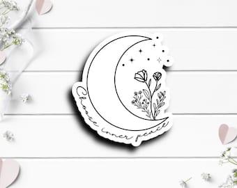 Mental Health Stickers, Choose Inner Peace, Boho sticker, Moon Sticker, Waterproof Vinyl Die Cut Sticker, Perfect for Planner or Journal