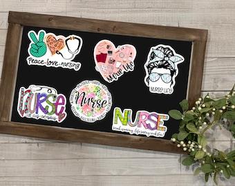 Nurse Stickers, Nurse Collection, Waterproof Vinyl Die Cut Sticker, Planner, Journal, Inspirational Stickers