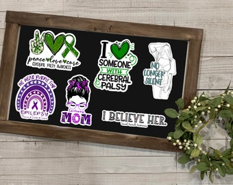 Awareness Stickers, Awareness Collection 2, Cerebral Palsy Awareness, Sexual Assault Awareness, Epilepsy Awareness,Vinyl Die Cut Sticker