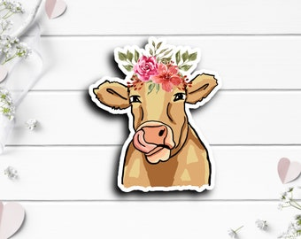 Cow Sticker, Vinyl Die Cut Sticker, Weatherproof Sticker, Perfect for laptops, tumblers, and planners