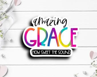 Faith Stickers, Amazing Grace Sticker, Faith Sticker, Vinyl Die Cut Sticker, Weatherproof Sticker, Perfect for laptops, tumblers, planners