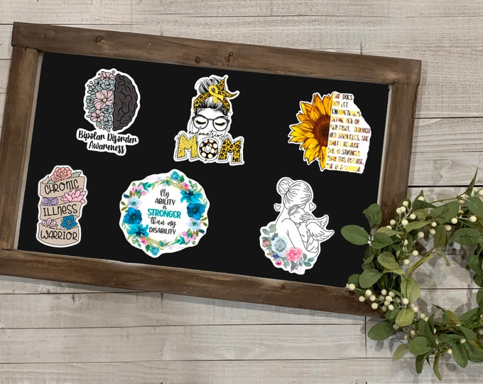 Featured listing image: Awareness Stickers, Awareness Collection 2, Bipolar, Endometriosis, Chronic Illness, Disability, Miscarriage Awareness,Vinyl Die Cut Sticker