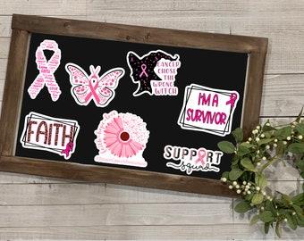 """Breast Cancer Awareness Stickers, Breast Cancer Awareness Collection 2, Vinyl Die Cut Sticker, Weatherproof Sticker, 3"""" Sticker,"""