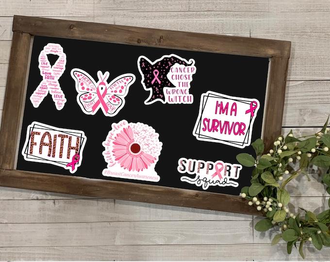 """Featured listing image: Breast Cancer Awareness Stickers, Breast Cancer Awareness Collection 2, Vinyl Die Cut Sticker, Weatherproof Sticker, 3"""" Sticker,"""