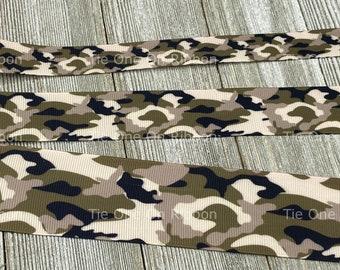 Tan and Black Camouflage Printed Grosgrain Ribbon -  5/8 - 1 - 1.5 Inch - Sewing - Crafting - Decor - Dog Collar - Lanyard