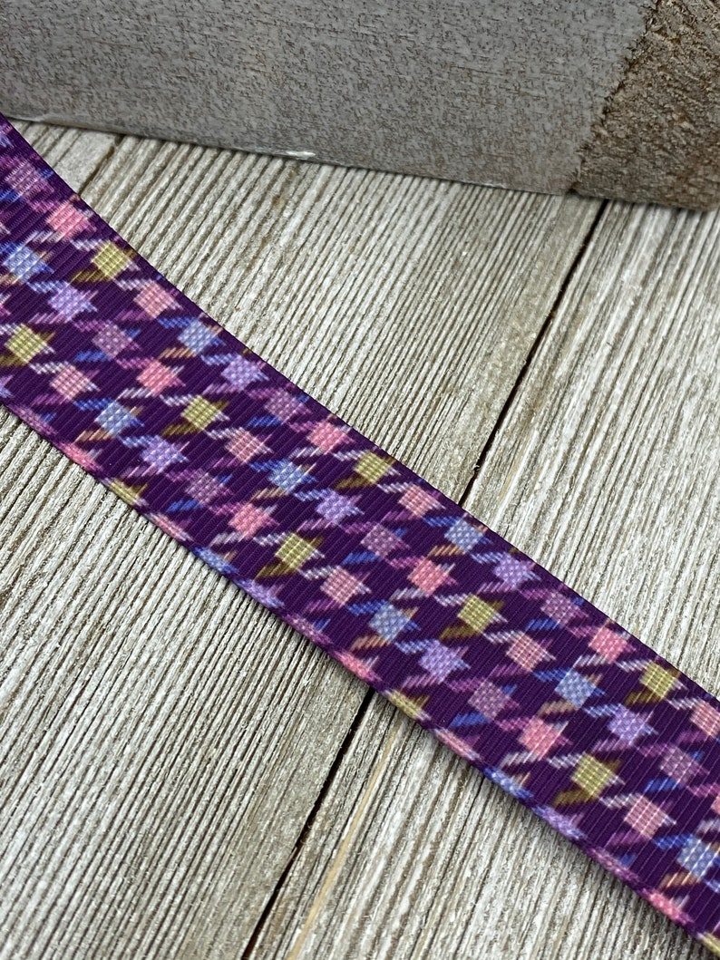 Purple Houndstooth Check Printed Grosgrain Ribbon 78-1 Inch Width Collars Crafting Sewing Bows