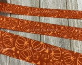 Tone on Tone Pumpkins Fall Printed Grosgrain Ribbon - 5 8 quot - 7 8 quot - 1 quot - 1.5 quot - Sewing - Crafting - Decor - Bows - Wreaths - Party