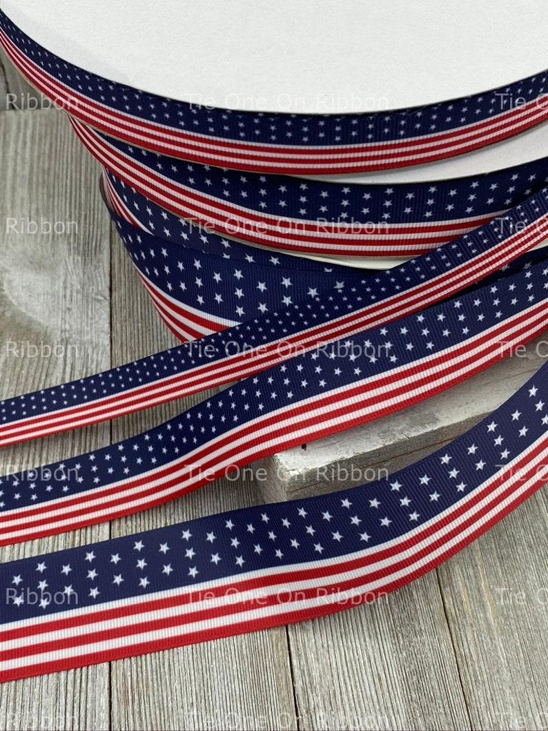 USA American Flag Patriotic Print Grosgrain Ribbon Sewing 58-1 Key Fob Decor Craft Bow Collars 1.5 Inch