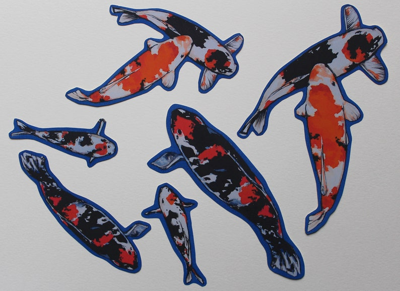 Laptops 6 Mixed Size Stickers for Journalling Scrapbooking Sketchbooks Koi Fish Sticker Pack Phones and Notebooks