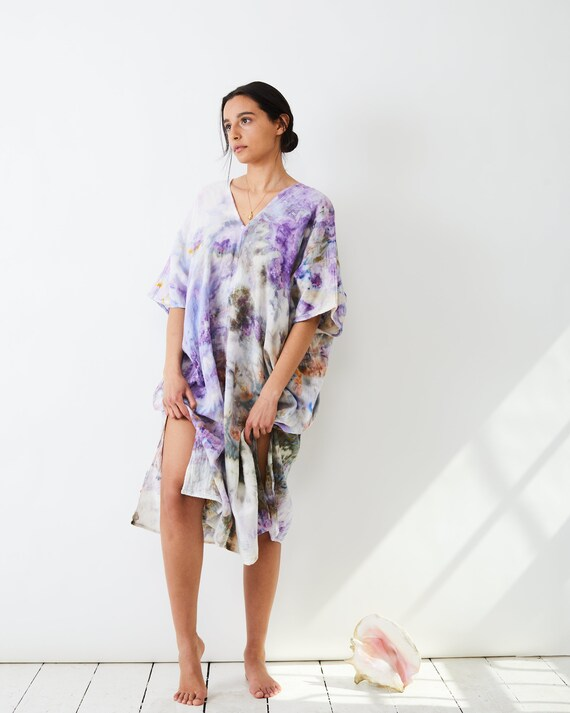 Wild Lavender Midi Kaftan / Hand Dyed Tie Dye Ice Dyed / Stowe Burlington Vermont Mountains / Beach Kaftan / Beach Dress