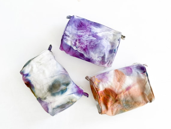100% Cotton Wild Lavender Make Up Bag / Hand Dyed Tie Dye Ice Dyed / Stowe Burlington Vermont Mountains / One Size