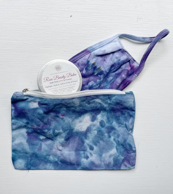 Holiday Gift / Hand Dyed Tie Dyed Ice Dyed Face Mask and Zipper Pouch / Gift For Her / Gift For Friend / Gift Set / Tie Dye Gift Box