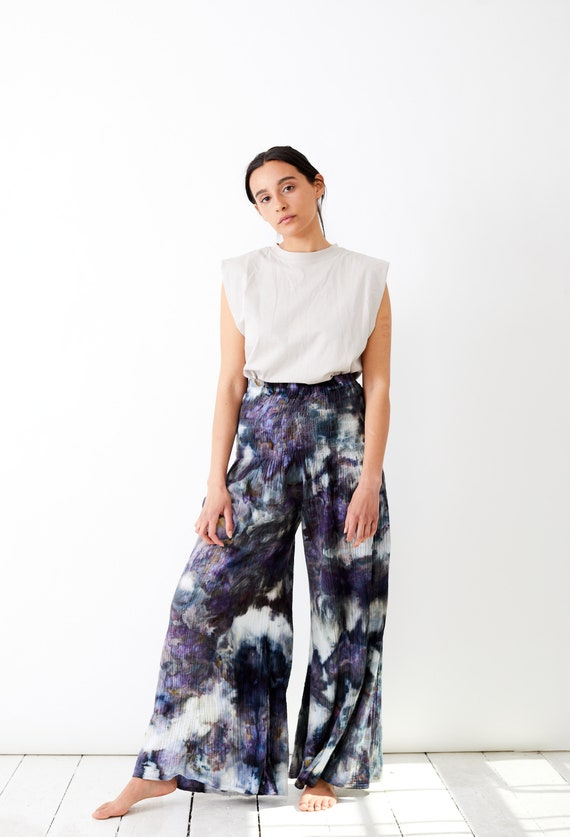 Geode Wide Leg Gauze Flowy Pants / Beach Pants / Hand Dyed Tie Dye Ice Dyed / Stowe Burlington Vermont Mountains One Size Fits All
