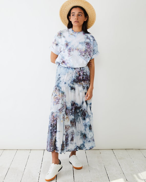 Geode Hand Dyed Boho Skirt / Ice Dyed / Tie Dye Streetwear / Sustainable Fashion