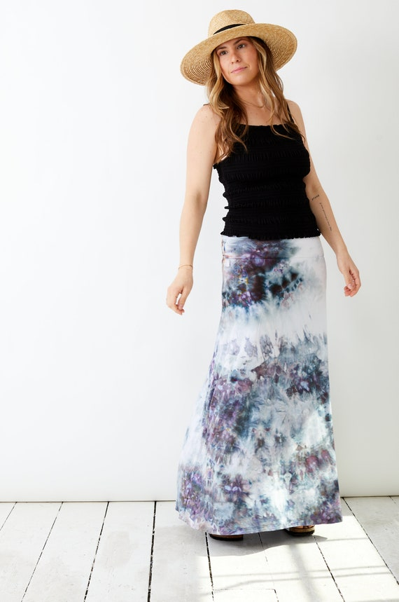 Geode Hand Dyed Maxi Skirt / Ice Dyed / Tie Dye Festival Look / Sustainable Fashion / Made in USA