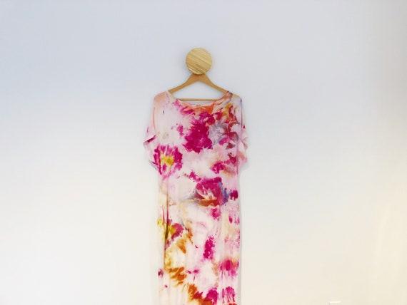 Peony Garden Ice Dye Tie Dye Kaftan Dress with Pockets
