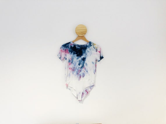 UPCYCLED Rainbow Sprinkles Hand Dyed Tie Dye T Shirt Bodysuit / Ice Dyed