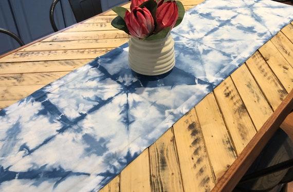 100% Cotton Linen Indigo Tie Dye Table Runner Shibori Itajime