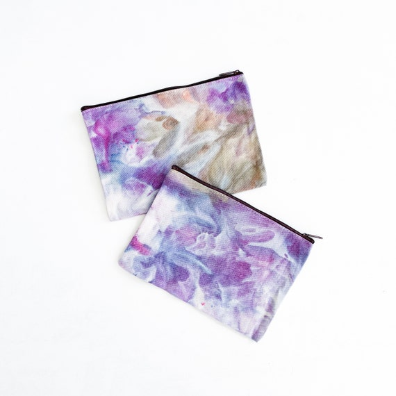 100% Cotton Wild Lavender Zipper Pouch / Hand Dyed Tie Dye Ice Dyed / Stowe Burlington Vermont Mountains / One Size