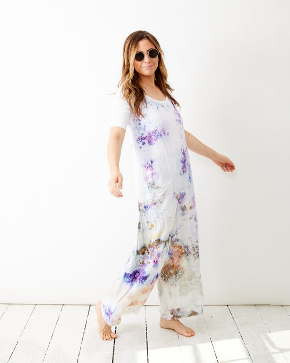 Wild Lavender Tank Jumpsuit / Maternity Jumpsuit / Hand Dyed Tie Dye Ice Dyed / Stowe Burlington Vermont Mountains