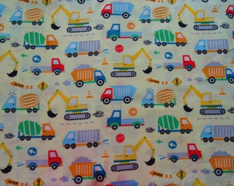 Construction Trucks Cotton Fabric by the 1/2 yard