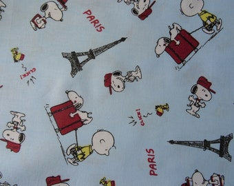 Snoopy fabric. Snoopy and Eiffel Tower Cotton Fabric by the 1/2 yard