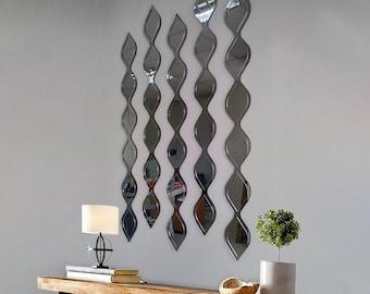 "23x36"" Water Drop Decorative Mirror Silver | Wall Decor Mirror by MDM Design"