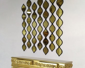 Water Drop Decorative Mirror Black Frame and Gold Mirror by MDM Design