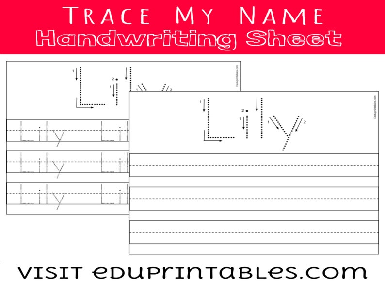 Customized Name Handwriting / Tracing Practice Sheets with image 0